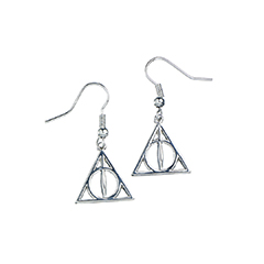 EHE0054-Sterling Silver Deathly Hallows Dangle Earrings