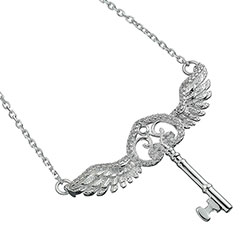 EHPSN055-Flying Key Necklace with Swarovski crystals