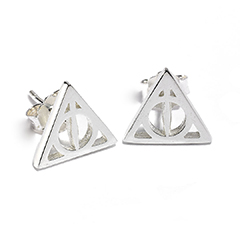 ESE0054-Sterling Silver Deathly Hallows Stud Earrings